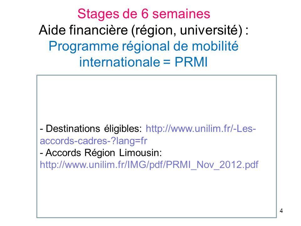 Stages de 6 semaines Aide financière (région, université) : Programme régional de mobilité internationale = PRMI.
