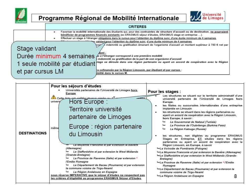 Stage validant Durée minimum 4 semaines. 1 seule mobilité par étudiant. et par cursus LM. Hors Europe :