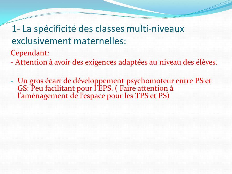 1- La spécificité des classes multi-niveaux exclusivement maternelles: