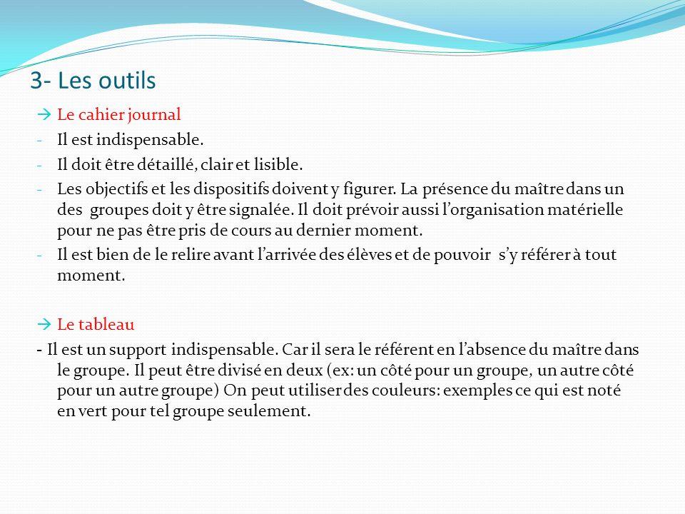3- Les outils Le cahier journal Il est indispensable.