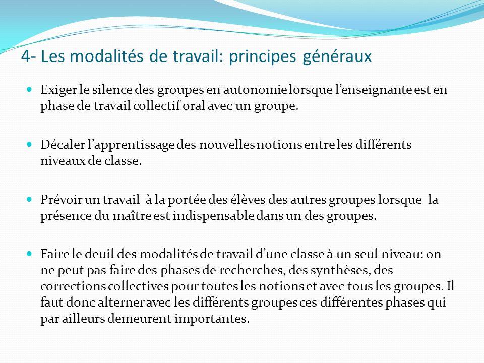 4- Les modalités de travail: principes généraux