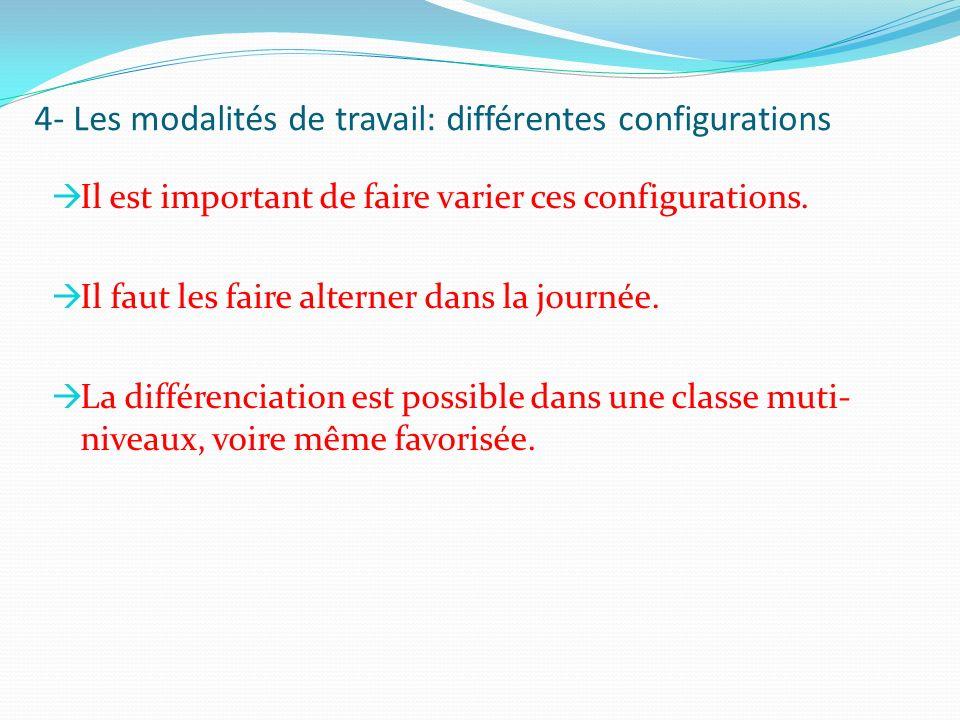 4- Les modalités de travail: différentes configurations