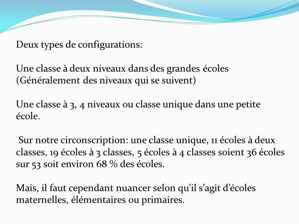 Deux types de configurations: