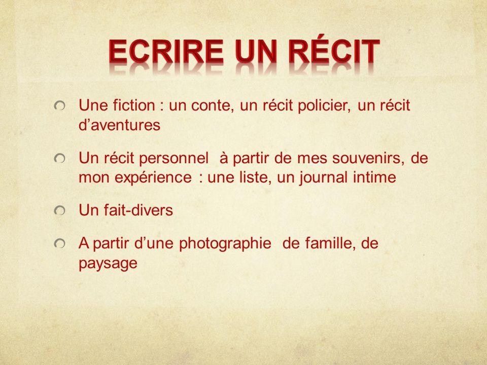 Ecrire un récit Une fiction : un conte, un récit policier, un récit d'aventures.