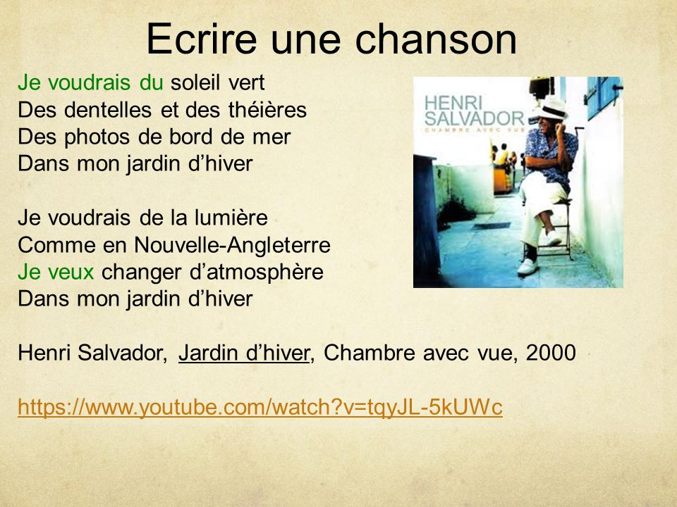 Ecritures inventives ppt video online t l charger - Henri salvador jardin d hiver album ...