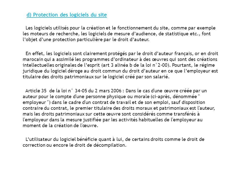 d) Protection des logiciels du site