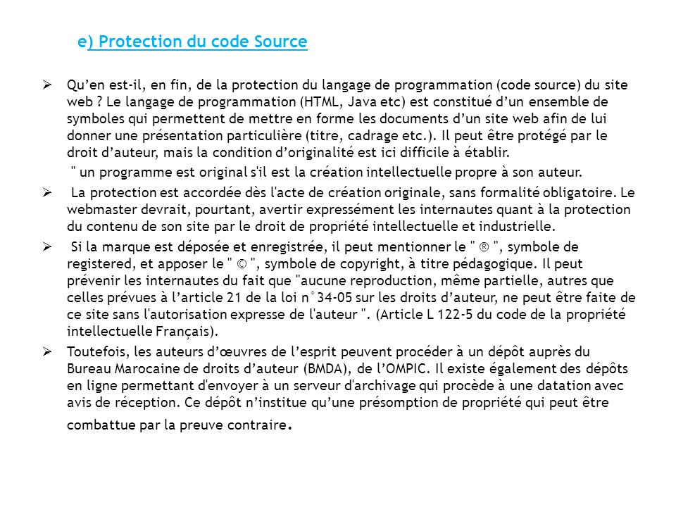 e) Protection du code Source