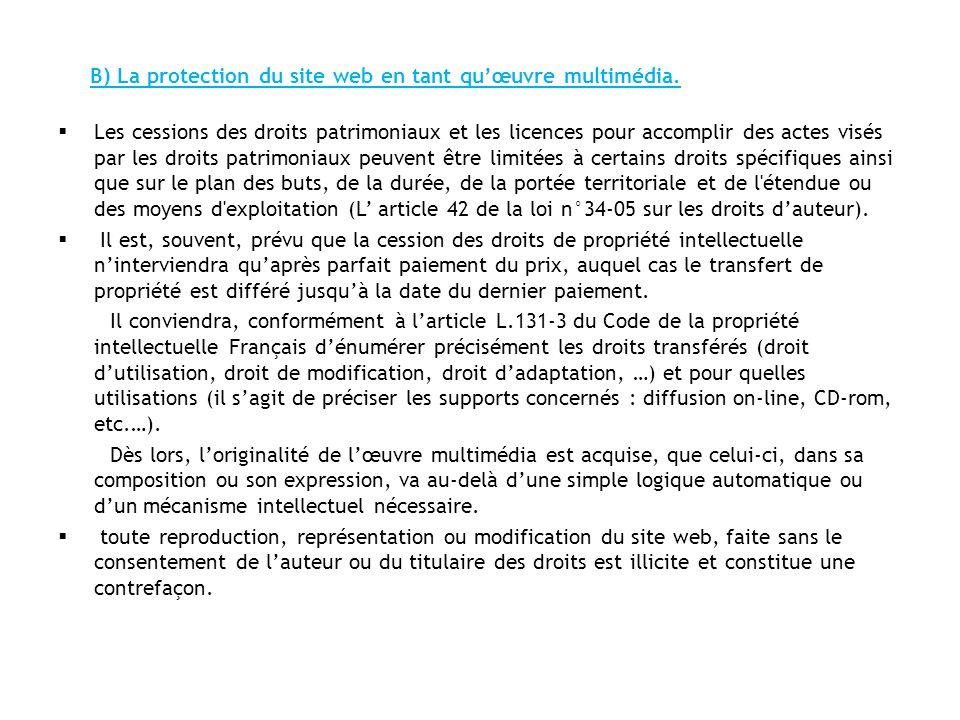 B) La protection du site web en tant qu'œuvre multimédia.