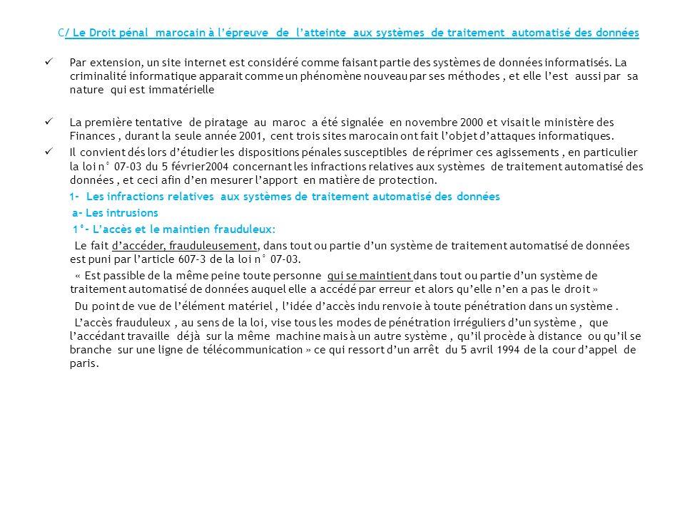 C/ Le Droit pénal marocain à l'épreuve de l'atteinte aux systèmes de traitement automatisé des données