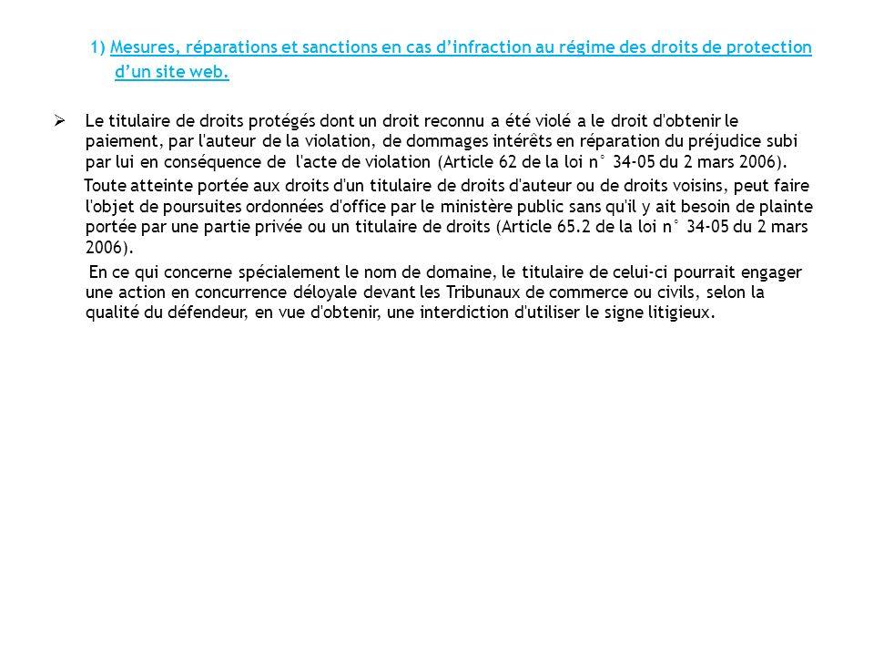 1) Mesures, réparations et sanctions en cas d'infraction au régime des droits de protection