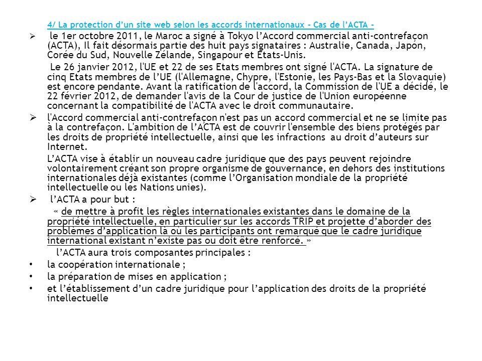 l'ACTA aura trois composantes principales :