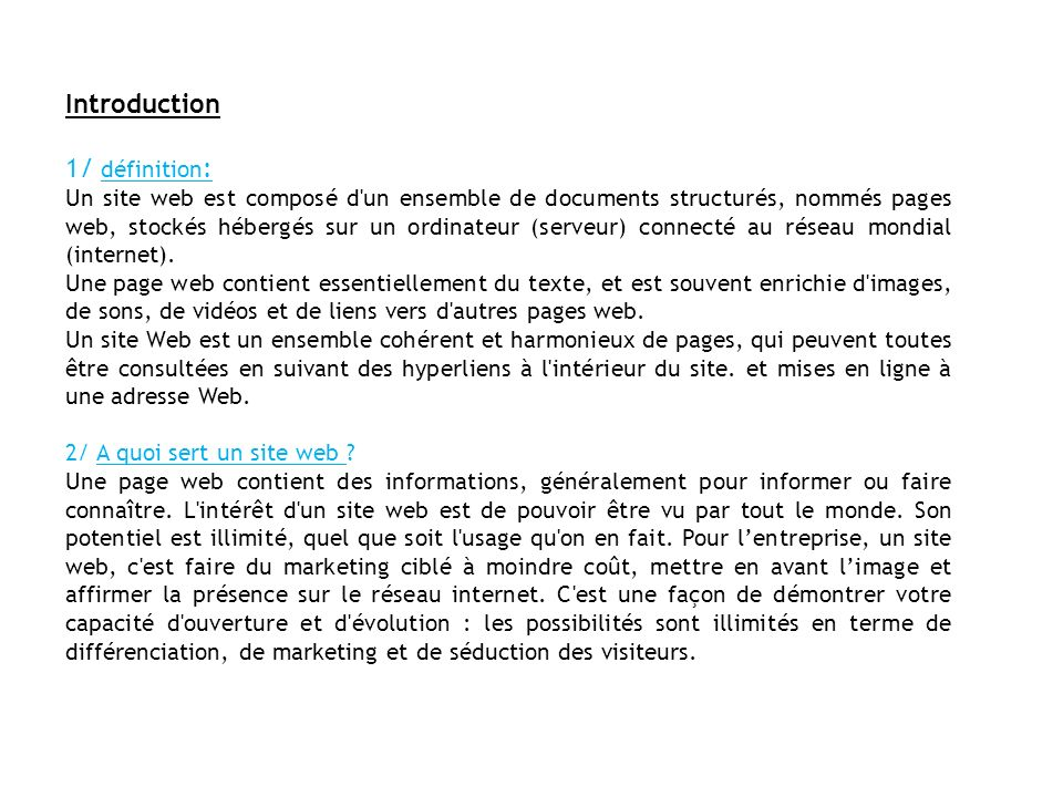 Introduction 1/ définition: