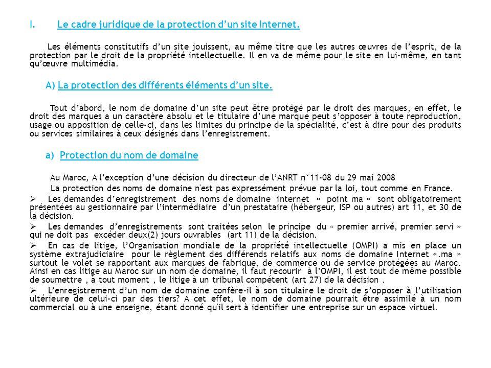 Le cadre juridique de la protection d'un site Internet.