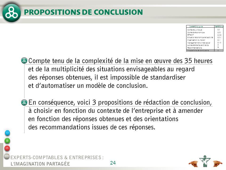 PROPOSITIONS DE CONCLUSION N° 1