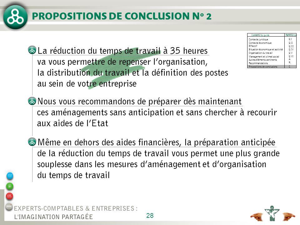 PROPOSITIONS DE CONCLUSION N° 2