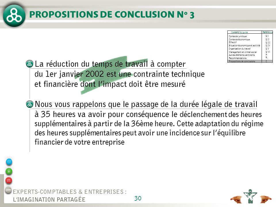 PROPOSITIONS DE CONCLUSION N° 3