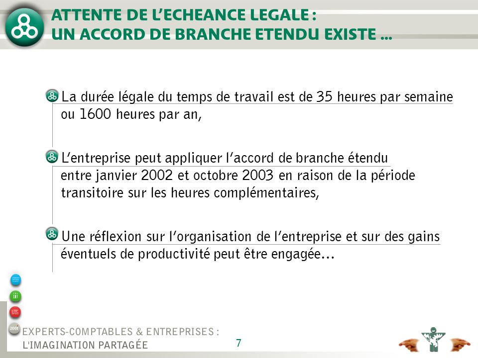 ATTENTE DE L'ECHEANCE LEGALE : UN ACCORD DE BRANCHE ETENDU EXISTE ...