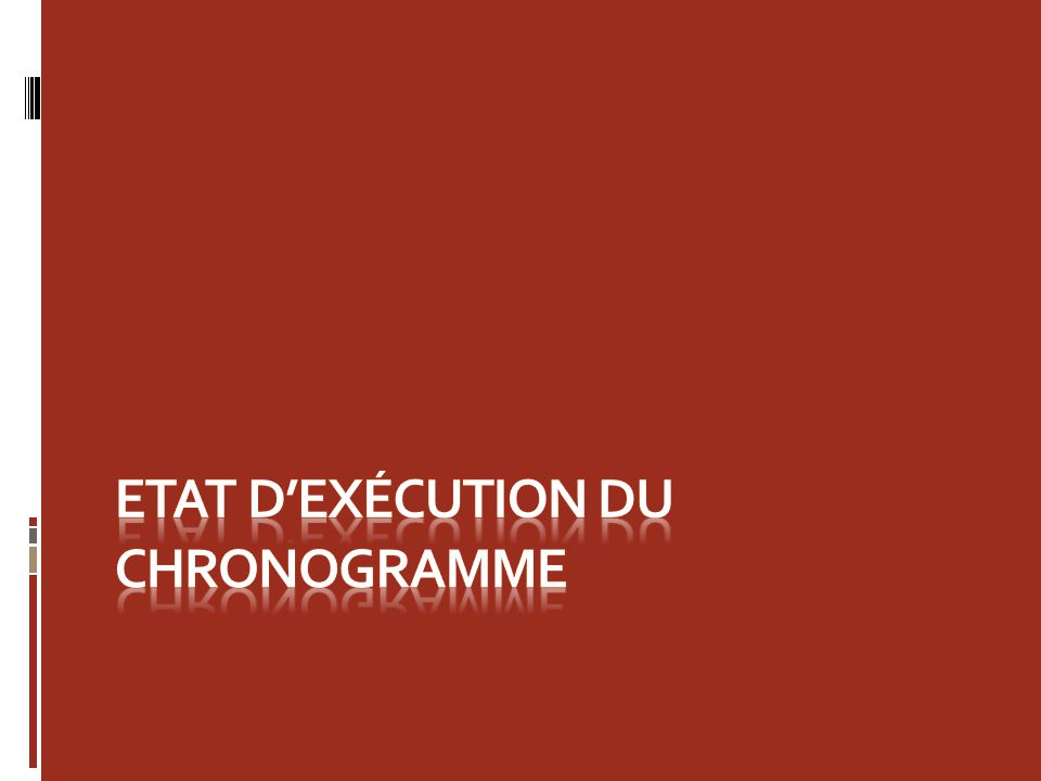 Etat d'exécution du Chronogramme