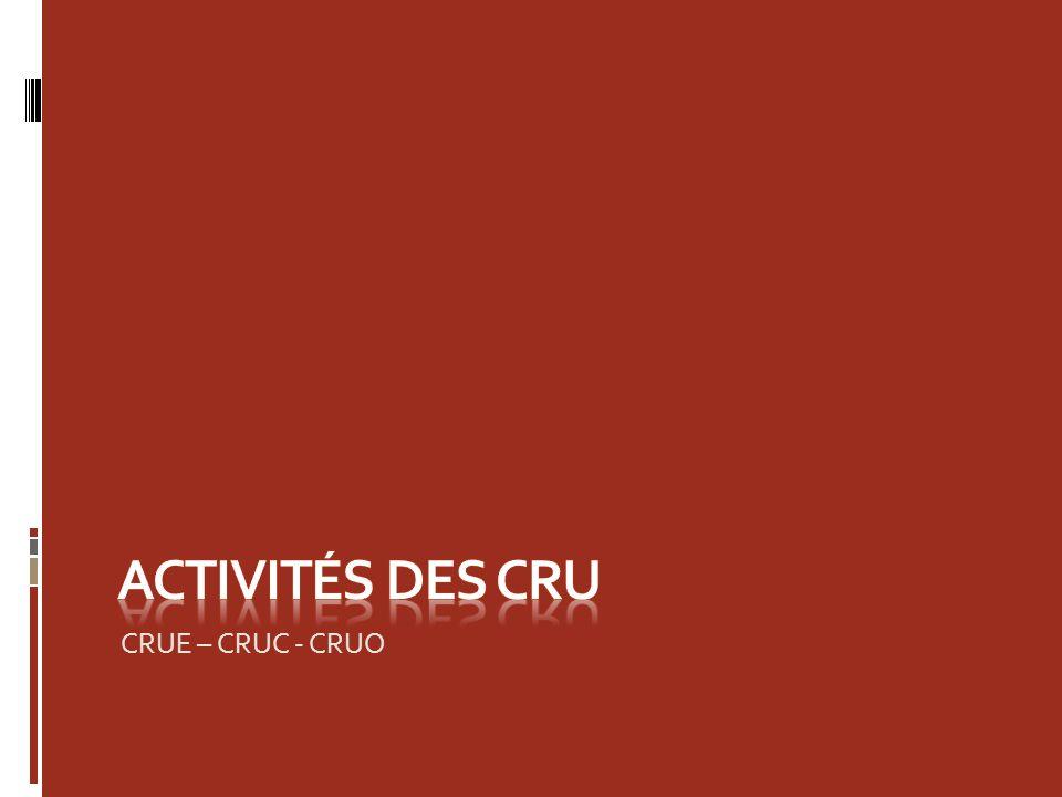 Activités des cru CRUE – CRUC - CRUO