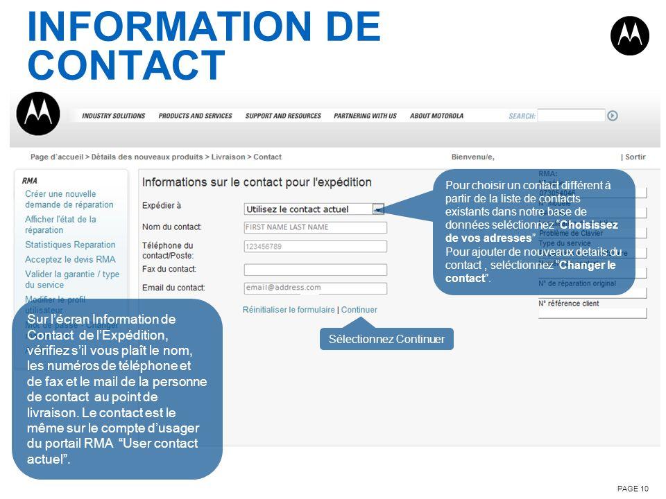 INFORMATION DE CONTACT