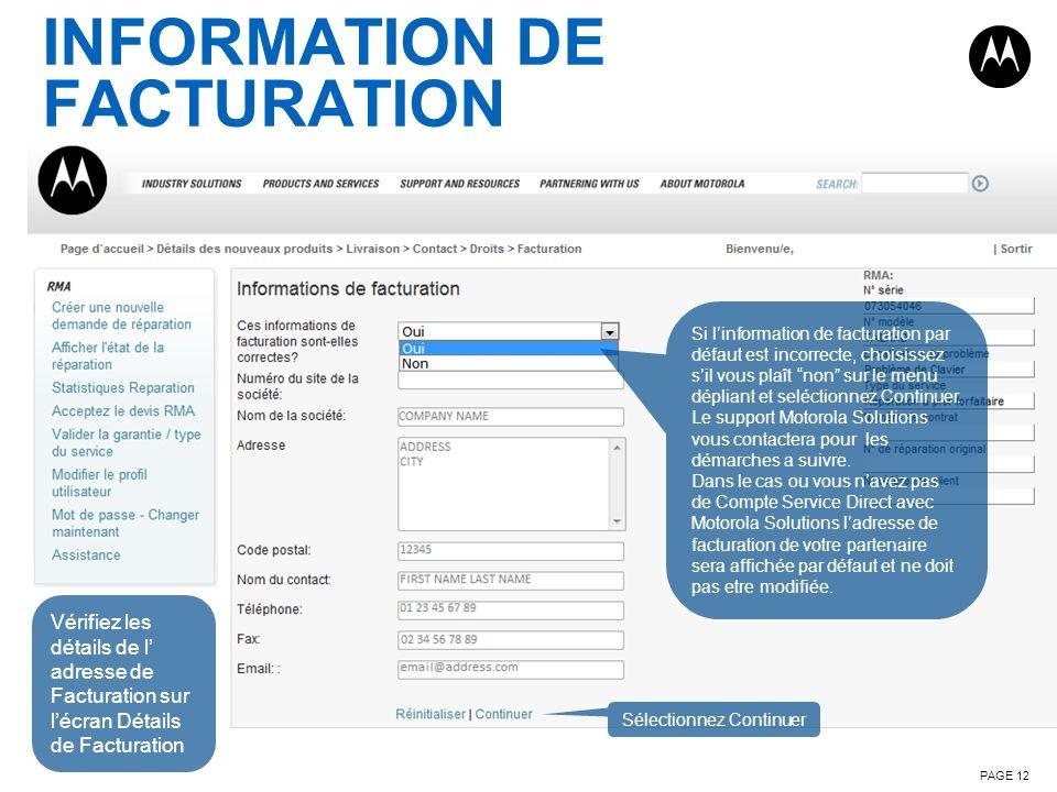 INFORMATION DE FACTURATION