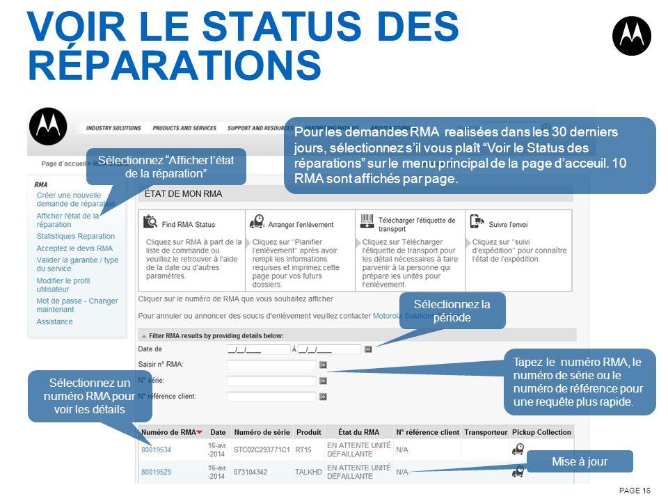 VOIR LE STATUS DES RÉPARATIONS