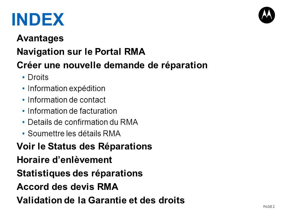 INDEX Avantages Navigation sur le Portal RMA