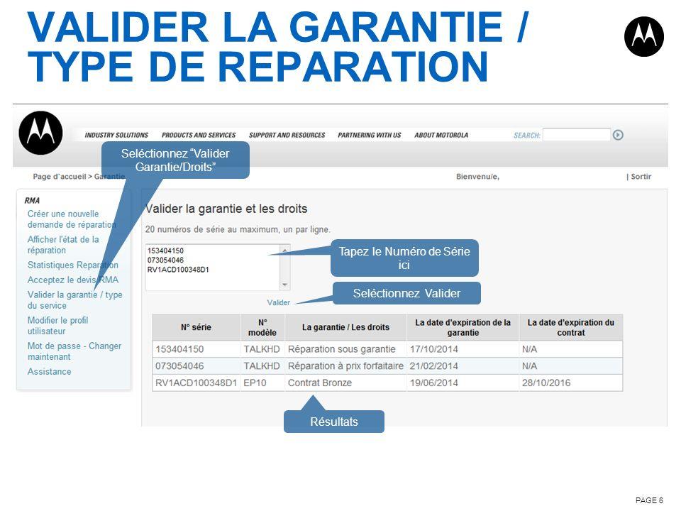 Valider la garantie / TYPE DE REPARATION