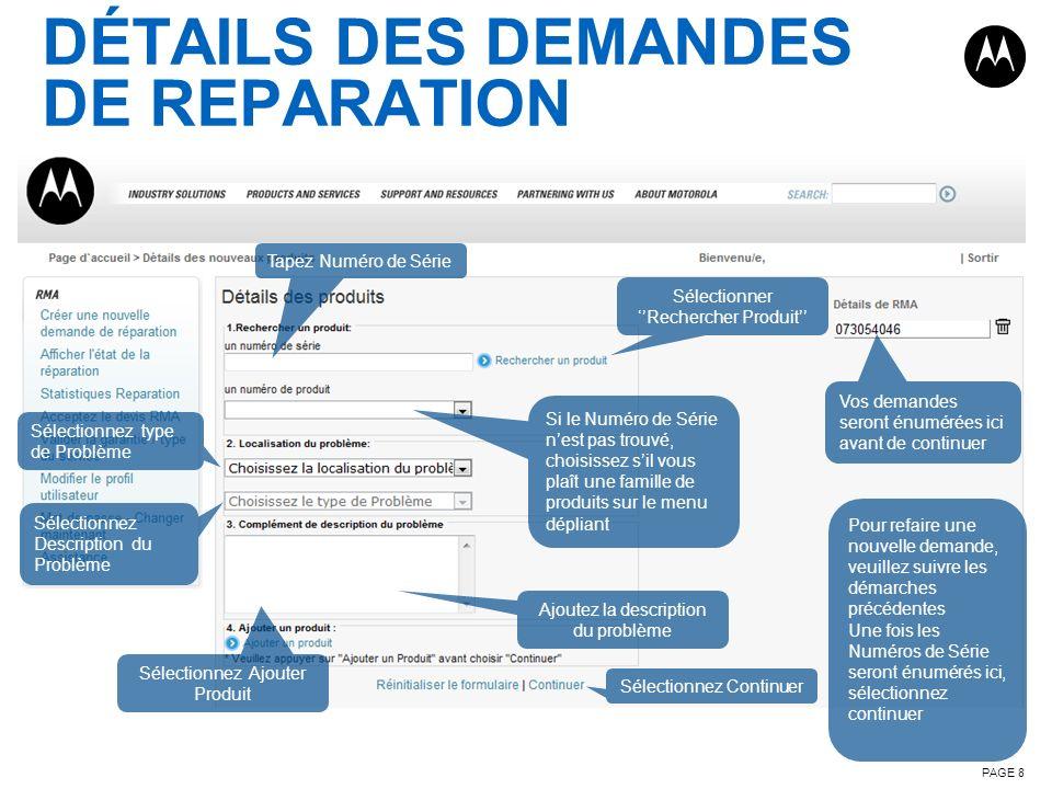 DÉTAILS DES DEMANDES DE REPARATION