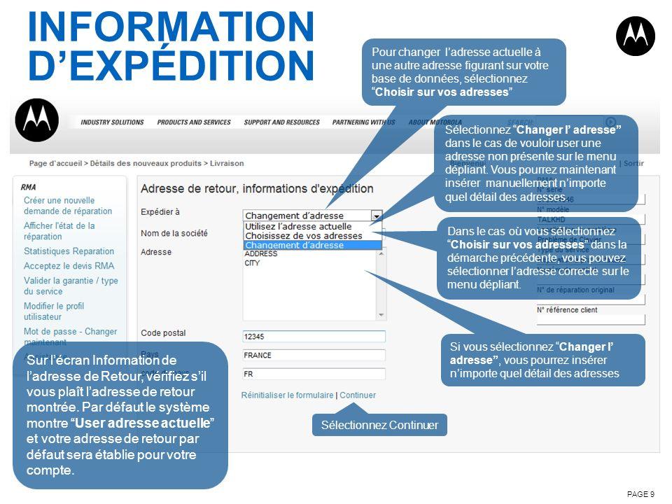 INFORMATION D'EXPÉDITION