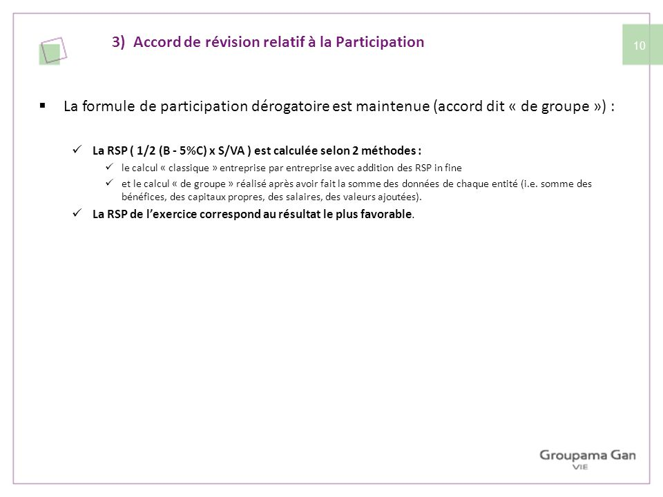 3) Accord de révision relatif à la Participation