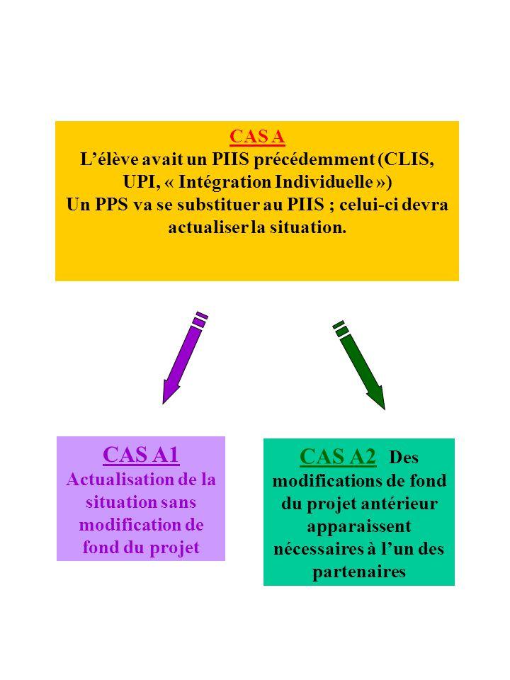 CAS A L'élève avait un PIIS précédemment (CLIS, UPI, « Intégration Individuelle »)