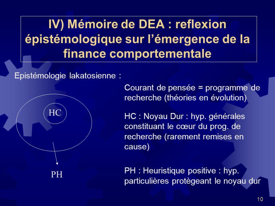 IV) Mémoire de DEA : reflexion épistémologique sur l'émergence de la finance comportementale