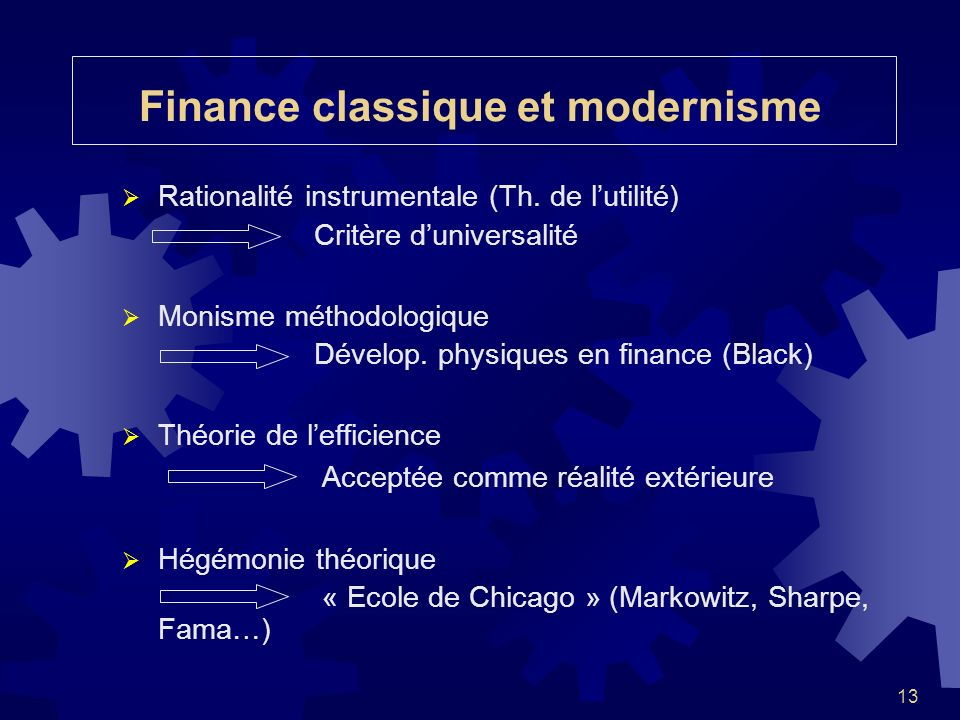 Finance classique et modernisme