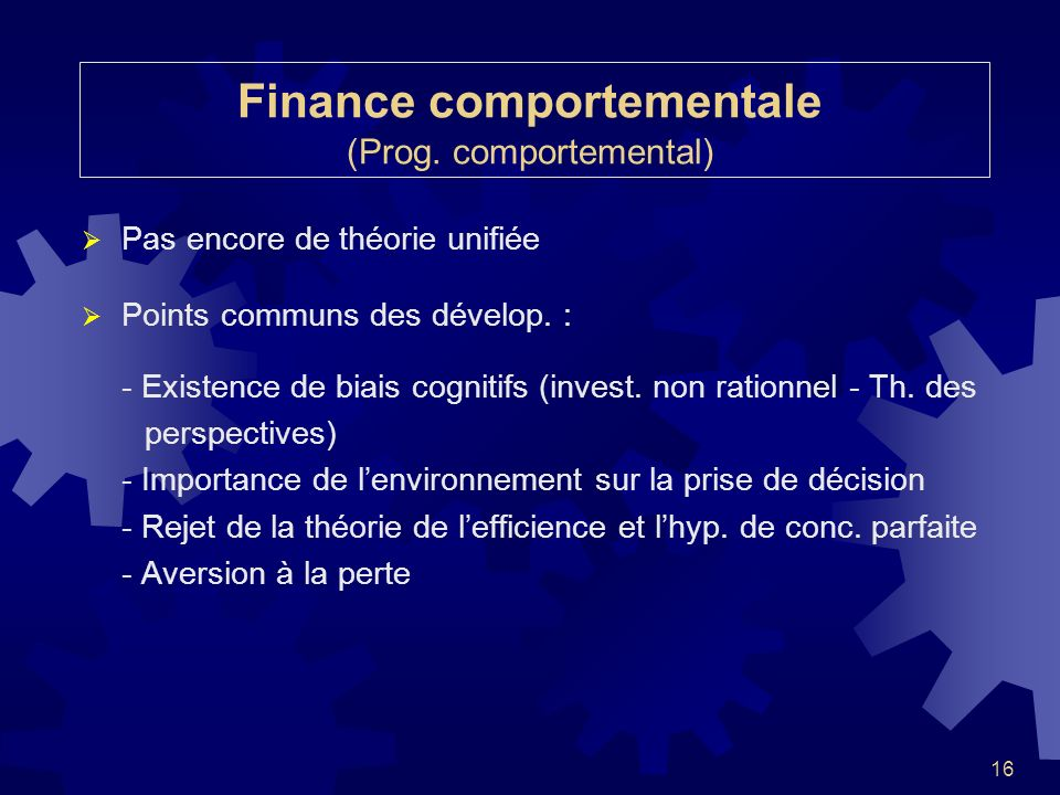 Finance comportementale (Prog. comportemental)