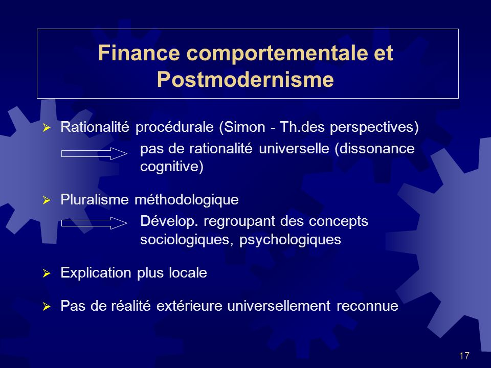 Finance comportementale et Postmodernisme