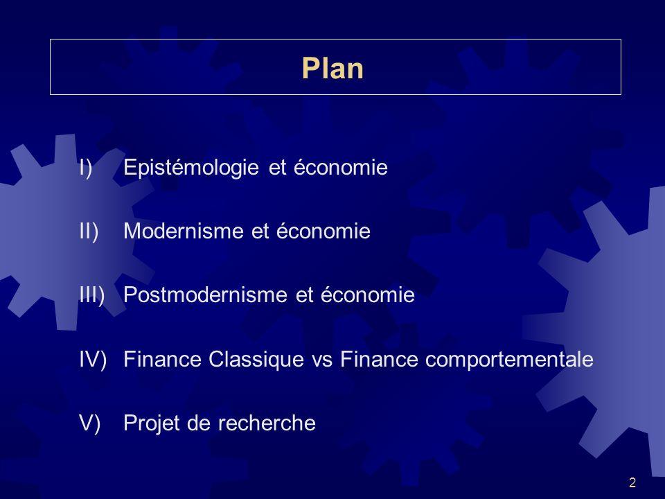 Plan I) Epistémologie et économie II) Modernisme et économie