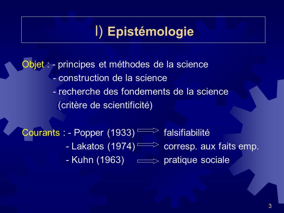I) Epistémologie Objet : - principes et méthodes de la science