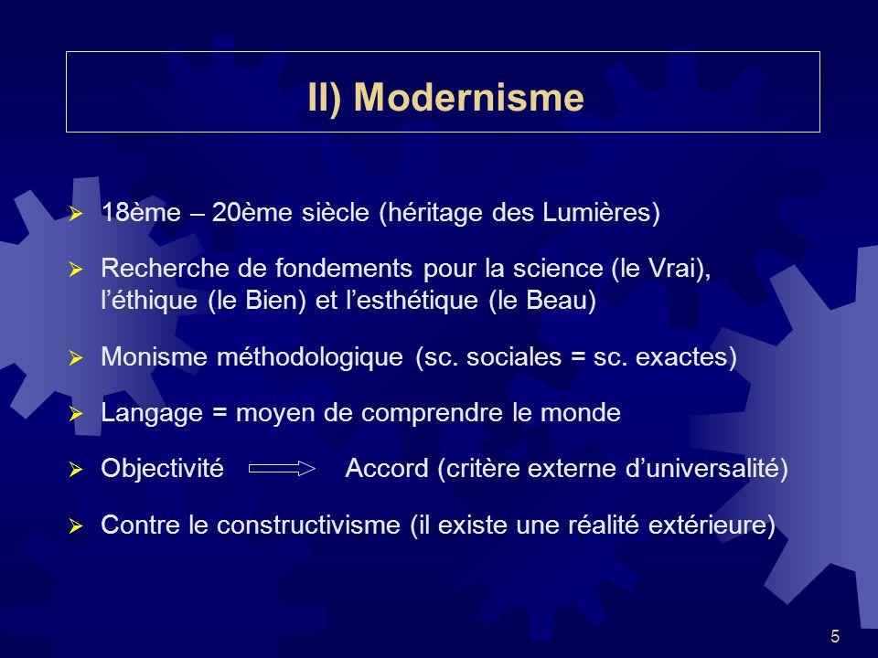 II) Modernisme 18ème – 20ème siècle (héritage des Lumières)