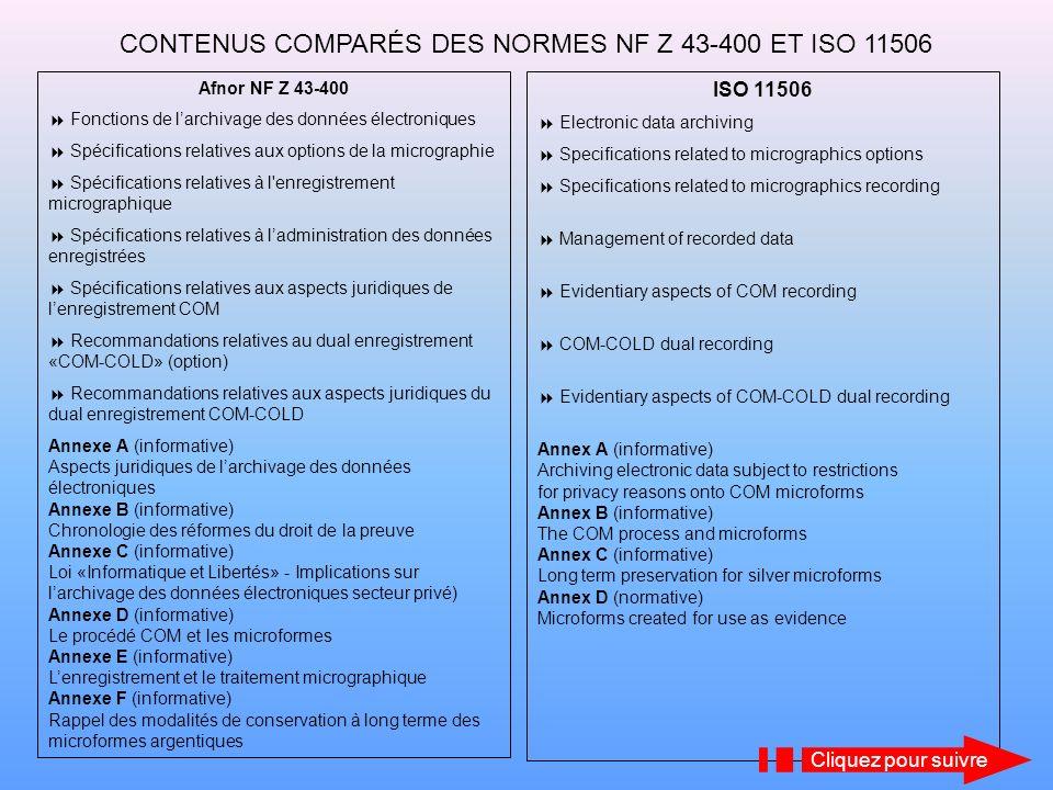 CONTENUS COMPARÉS DES NORMES NF Z 43-400 ET ISO 11506