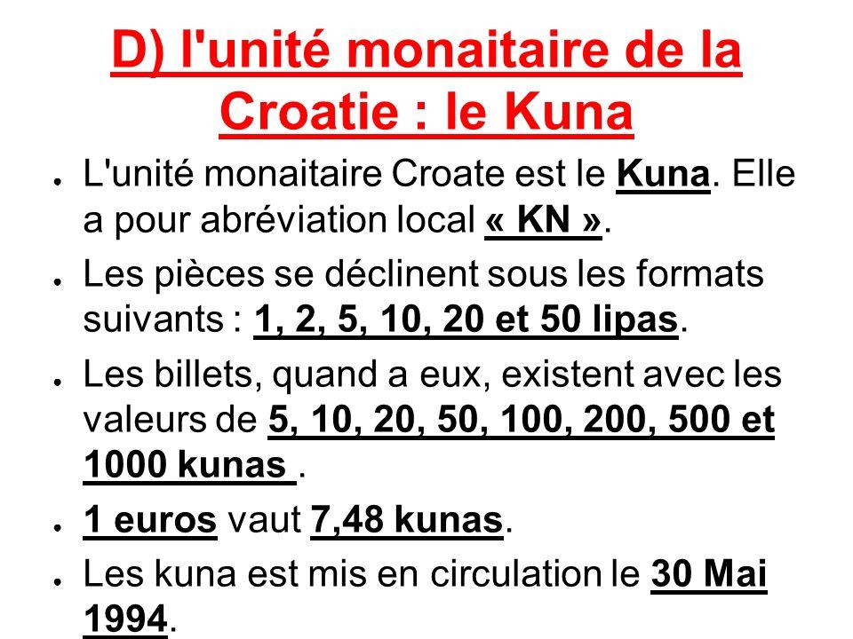 D) l unité monaitaire de la Croatie : le Kuna