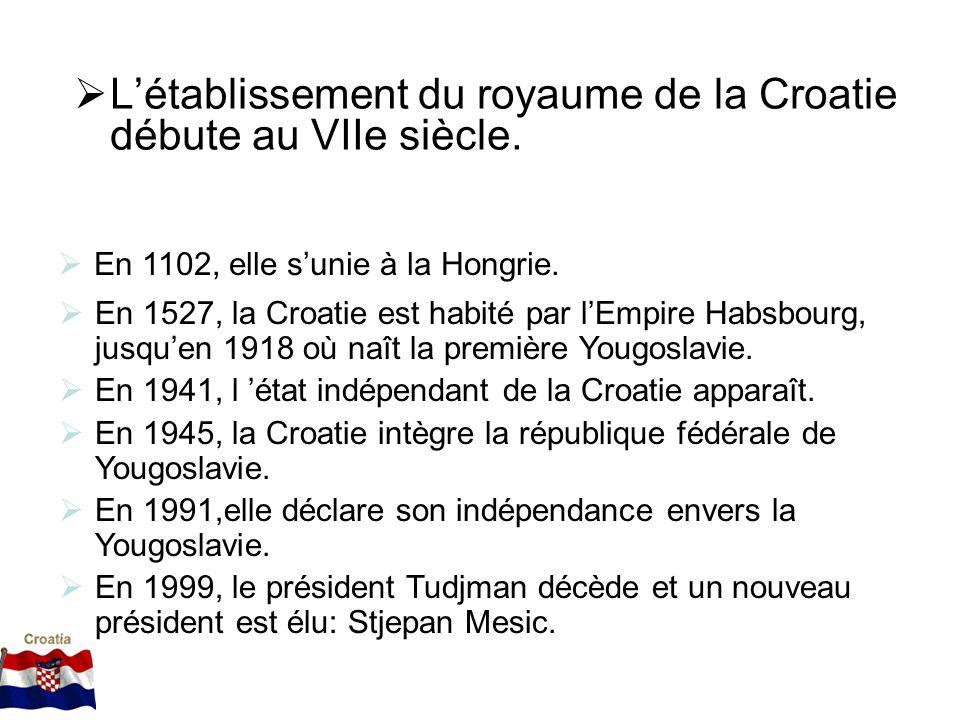 L'établissement du royaume de la Croatie débute au VIIe siècle.