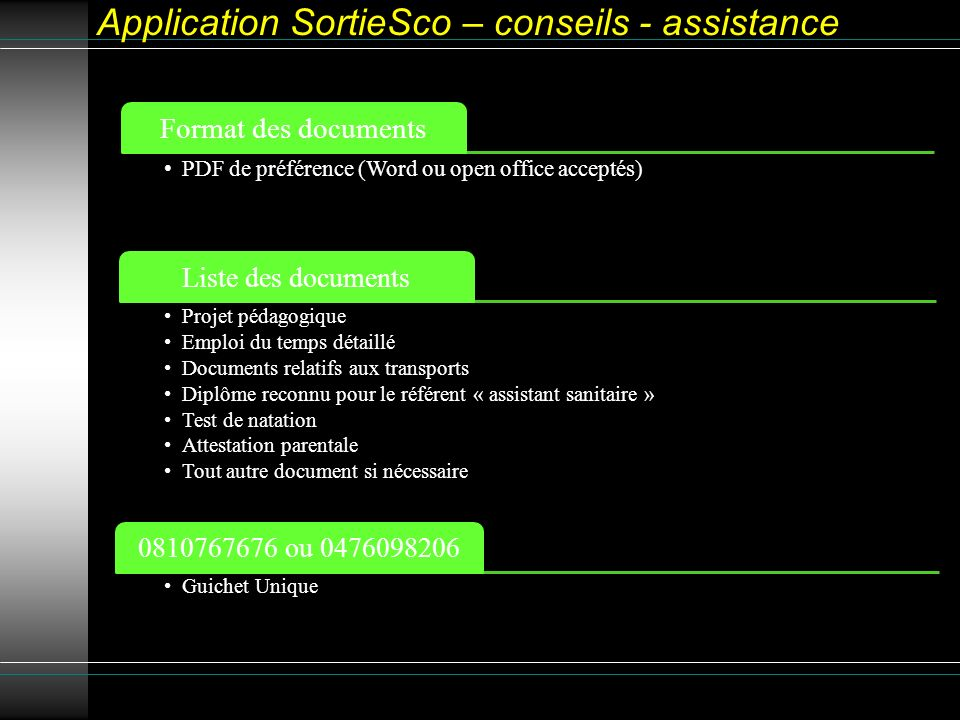 Application SortieSco – conseils - assistance