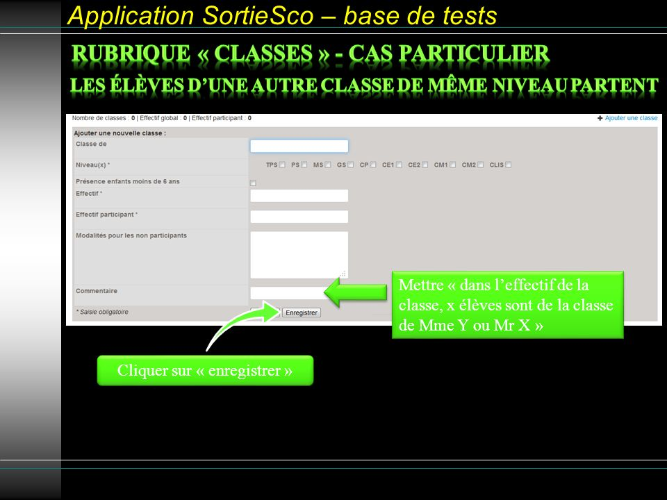 Application SortieSco – base de tests