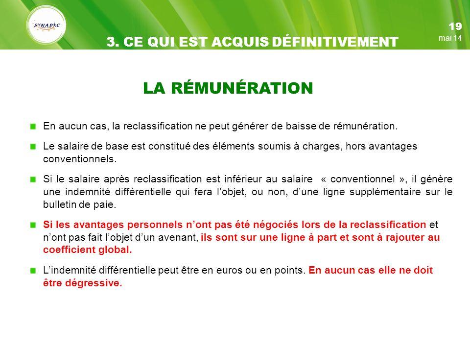 LA RÉMUNÉRATION 3. CE QUI EST ACQUIS DÉFINITIVEMENT