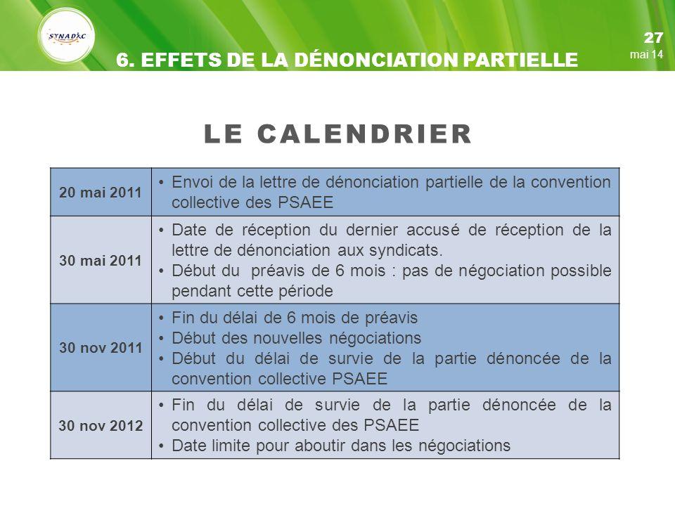 LE CALENDRIER 6. EFFETS DE LA DÉNONCIATION PARTIELLE