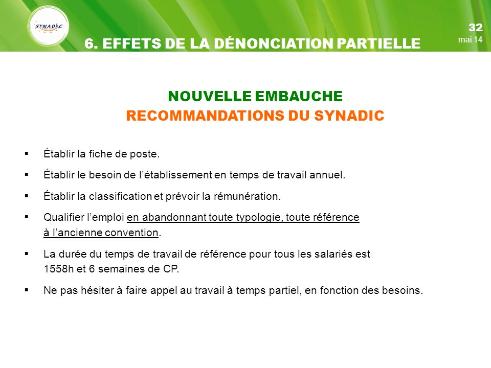 RECOMMANDATIONS DU SYNADIC