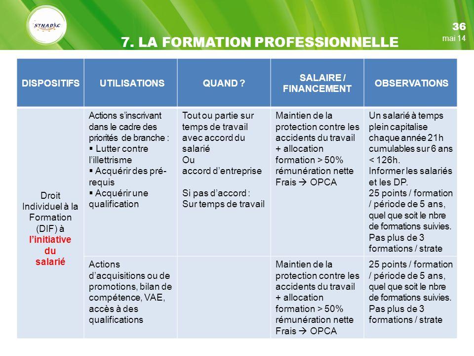 7. LA FORMATION PROFESSIONNELLE