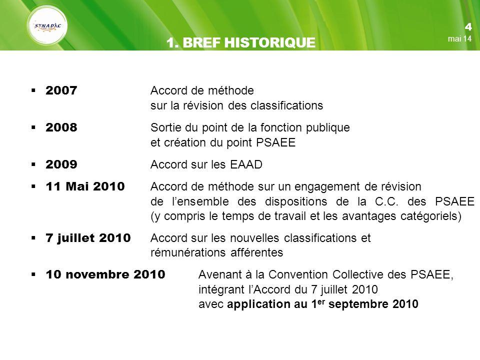 1. BREF HISTORIQUE 2007 Accord de méthode