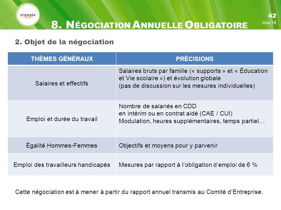 2. Objet de la négociation